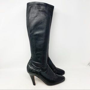 Cole Haan pull on heeled tall leather boots